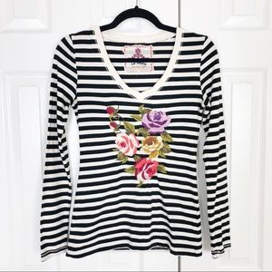 Johnny Was JWLA striped floral embroidered top